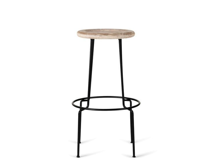 OREN - Mango wood and iron bar stool 29.5'' - Natural