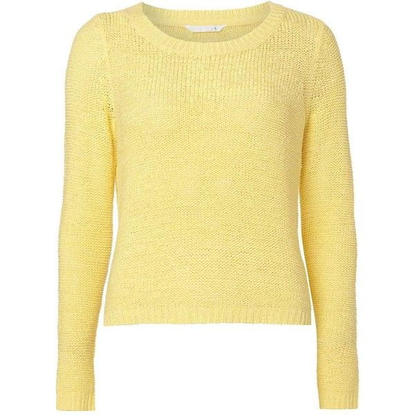 Dorothy Perkins **Only Yellow Summer Knitted Top ($35) ❤ liked on Polyvore featuring tops, yellow, pullover top, beige top, long sleeve summer tops, yellow long sleeve top and beige long sleeve top