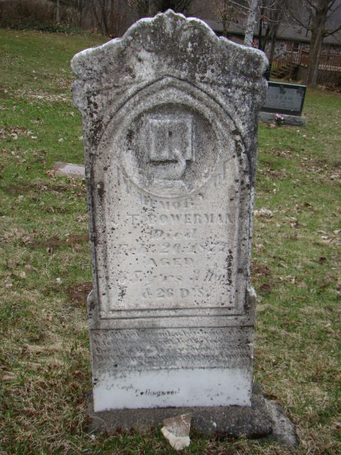 J F Bowerman - Joseph F. Bowerman - great great Grandfather - wife Abigail Louisa Davis - Dunedin Union Cemetery Ontario