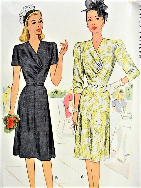 P6533oct14 1940s Chic V Neck Dress Mccall 6533 Bust 34 Vinta Vintage Dress Patterns Vintage Outfits Forties Fashion