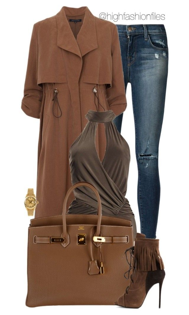 """Site SEE"" by highfashionfiles ❤ liked on Polyvore featuring J Brand, French Connection, Boohoo, Hermès, Giuseppe Zanotti and Rolex"