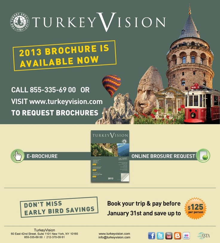 Don't miss early bird special on TurkeyVision Tours.  Click to see our updated catalogue #travel #tourism #vacation.