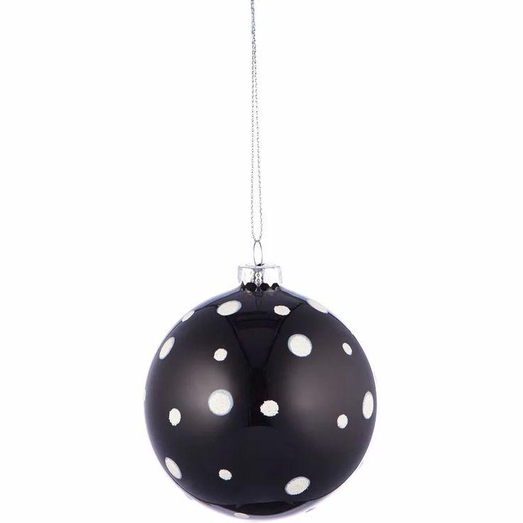 Fehér pöttyös fekete karácsonyfa dísz