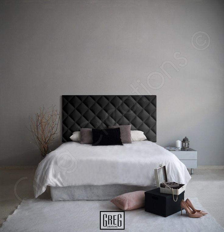 dormitorio con cabecero negro tapizado en polipiel de la serie classic