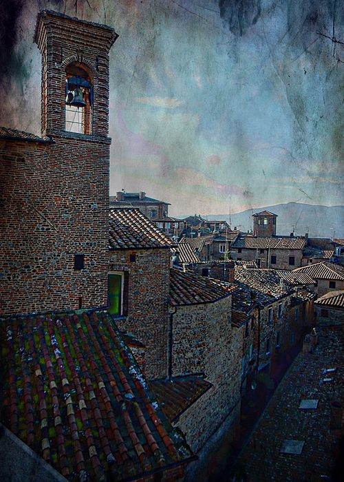 Bell Tower and Rooftops Citta della Pieve Greeting Card by Dorothy Berry-Lound