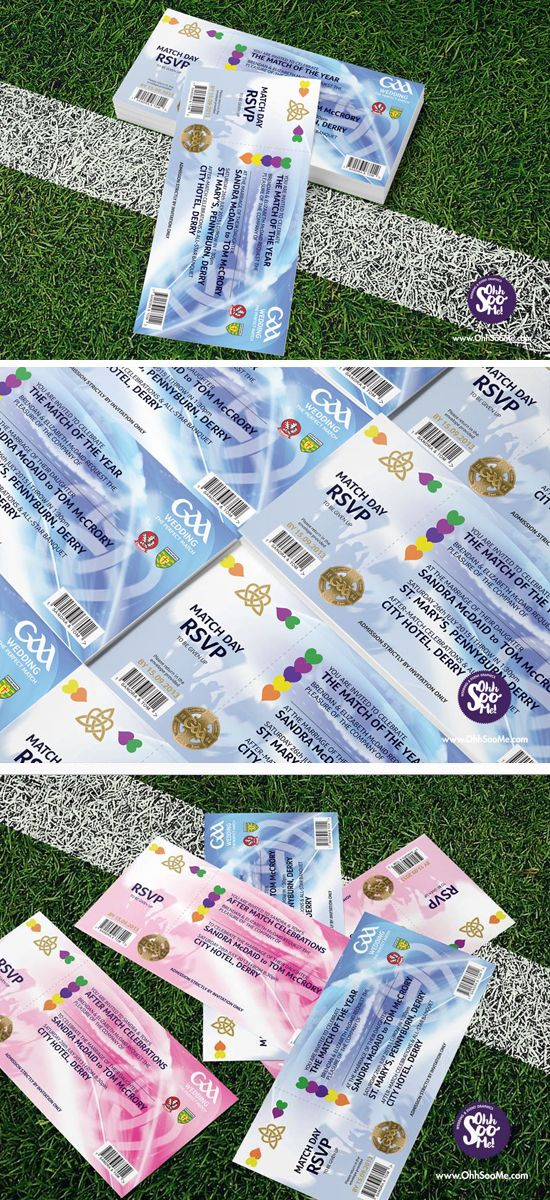 GAA MATCH TICKET INVITATION A quirky fun wedding invitation for GAA lovers. The perfect way for the happy couple to display their GAA county or club loyalties. This unique wedding invitation design is inspired by the look of a traditional All-Ireland Final ticket with a few quirky tweaks. #GAA #wedding #invitation. #GAAInvitations #football #hurling #crokepark