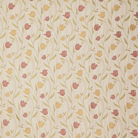 Buy John Lewis Tulips Lined Pencil Pleat Curtains Red / Gold Online at johnlewis.com