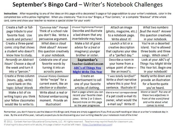 Writers notebook challenges lividawn