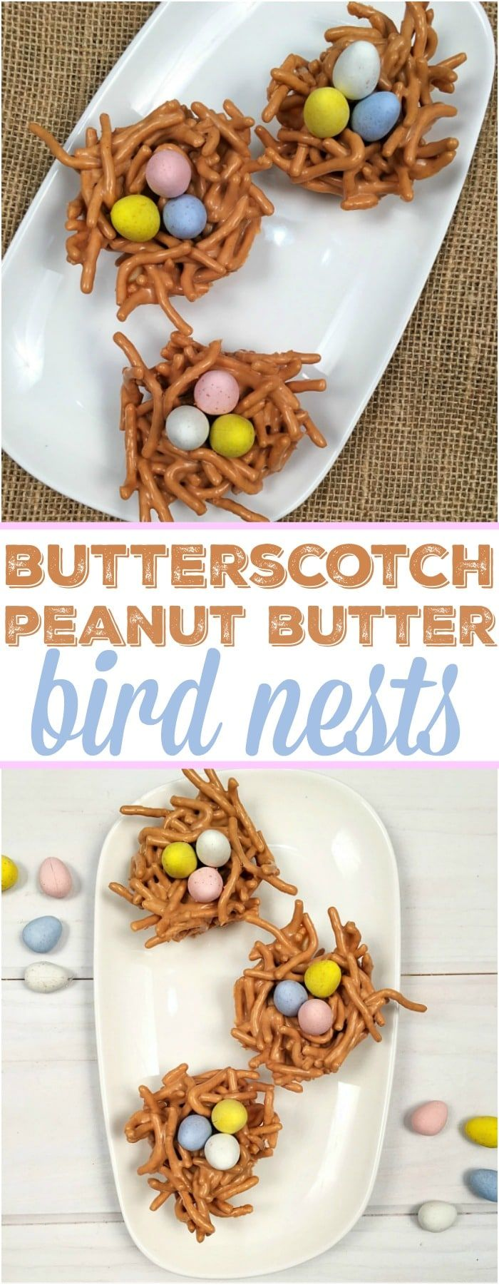 These easy butterscotch haystacks desserts are perfect Easter nests and so yummy too. A crunchy and creamy peanut butter treat with chocolate eggs in the shape of a bird nest they are a no bake dessert kids can help you make with a delicious butterscotch flavor.  #butterscotch #haystacks #nests #easter #dessert #easy #cute #eggs #chocolate #peanutbutter #nobake via @thetypicalmom