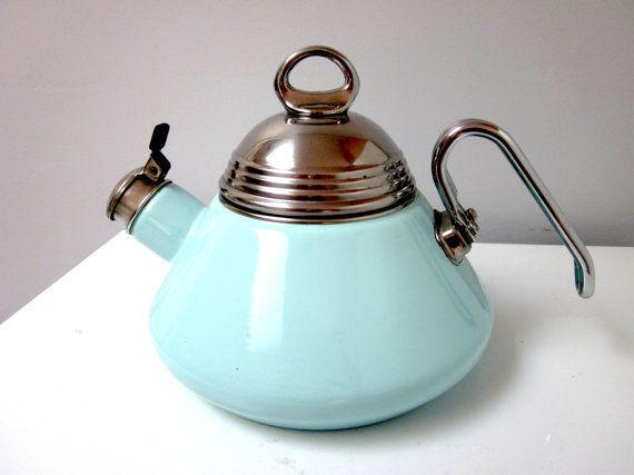 Vintage Turquoise Aqua Tea Kettle Colors Vintage And