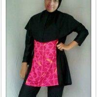 BRMD201414 Baju Renang Muslimah Desain Longgar Warna Merah Motif Abstrak beli di ellima.web.id