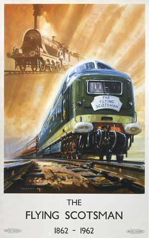 British Railways Poster celebrating the centenary of the Flying Scotsman. The locomotives shown are a GNR Stirling Single and a Class 55 'Deltic'.The Flying Scotsman is an express passenger train service that has been running between London and Edinburgh—the capitals of England and Scotland respectively—since 1862. It is currently operated by East Coast. ~ We took this route from London to York & I think it was the nicest, fastest and best service train we were on in our travels through…
