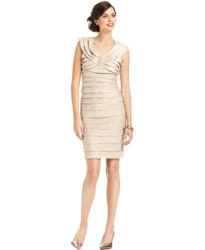 T14 T10 $76n London Times Women's London Times Champagne Shimmer Tie Beaded Dress 10…
