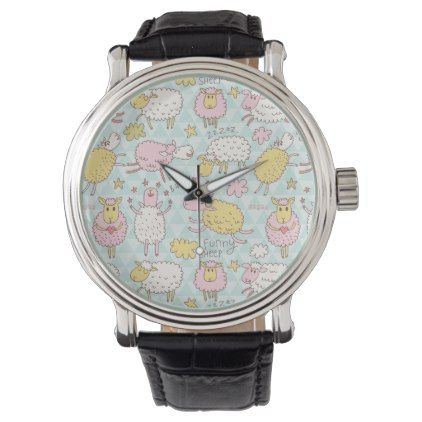 Funny Sheep Drawing Pattern Pastel Pastel Watch - drawing sketch design graphic draw personalize