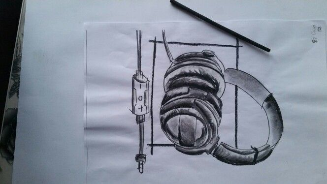 DAY 23: HEADPHONE DESIGN USING CHARCOAL.