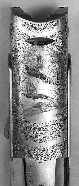 Armurerie Jean Ané à Gaillac dans le Tarn (pheasant etching detail on shotgun barrel <3 )
