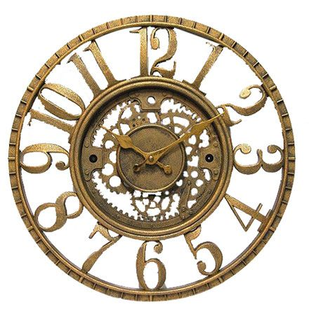 Found it at Wayfair - Open Dial Resin Gear Wall Clock in Gold
