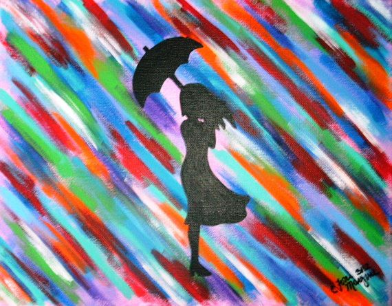 Original Colorful Girl Silhouette Standing in Rain by ToniTiger415, $60.00