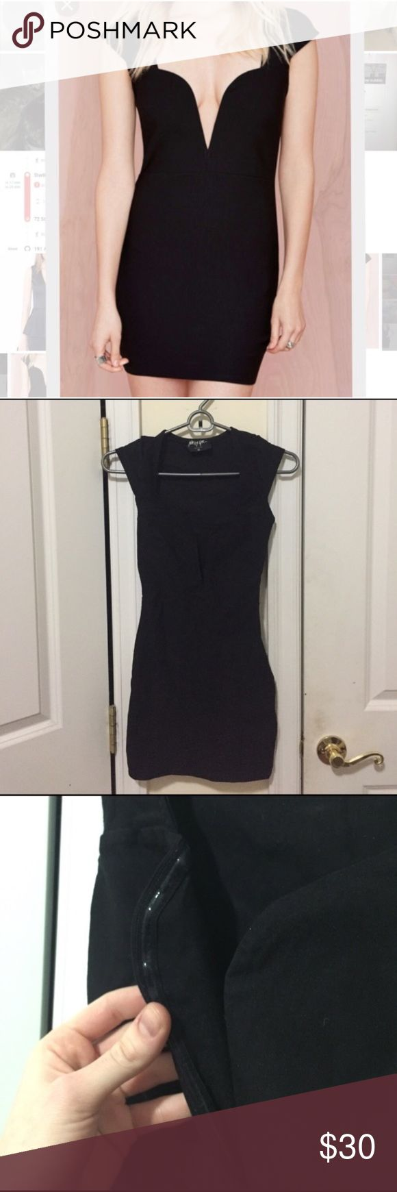 nastygal sexy little black dress this dress has been worn once and is in good condition. dress has those shiny little things by the breast area so there are no wardrobe malfunctions. 😹😜 zips up on the side. Nasty Gal Dresses Mini