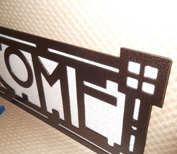 Arts and Craft Welcome sign. Four Square House. Craftsman. Bungalow, Mission Style, Wall Sign, Metal Art, Solid Steel, Powder Coated. This Welcome sign goes is in the same style as this listing... https://www.etsy.com/listing/250872891/arts-and-craft-address-sign-four-square?ref=listings_manager_grid This Welcome sign has the font called Strong Glasgow. It is 19.5 inches wide 6 inches tall and the lettering is 3.35 inches tall Powder Coated using Copper Vein ...