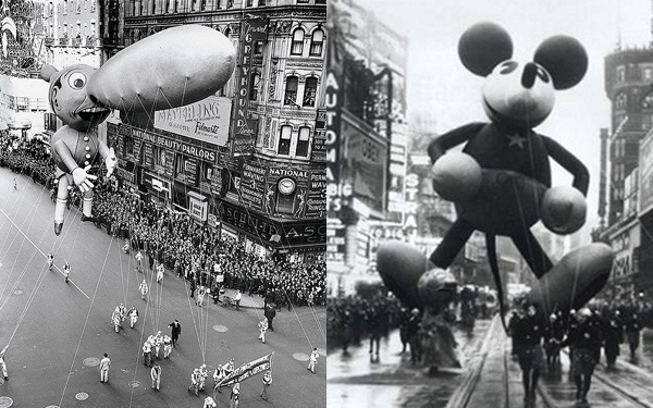 Pinocchio and Mickey Mouse in vintage photos of Macy's Christmas parade.