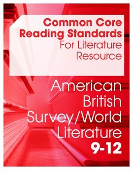 This bundle includes the resources needed to tackle the Common Core Reading Standards for Literature in an American Literature, British Literature, and Survey/World Literature course (grades 9-12). This bundle includes:* reading lists of poems, novels, dramas and/or short stories (with links to short works) for each anchor standard* 18 graphic organizers (covering thematic development, setting, characterization, language analysis, plot analysis, cultural experience, scene comparison…