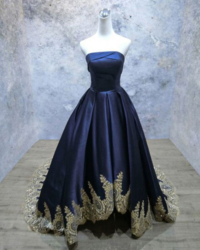 Navy Blue Satin Strapless Sweep Train Evening Dress With Gold Lace Applique Ball Gown Wedding Dress Navy And Gold Dress Ball Dresses