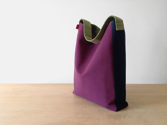 Hobo handbag in purple and blue pure cotton fabric by FMLdesign