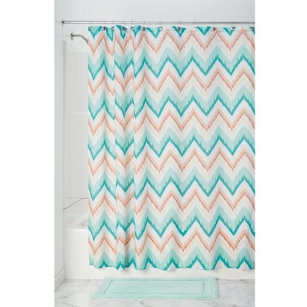 """InterDesign Chevron Soft Fabric Shower Curtain, 72"""" x 72 Navy/Burnt... ($19) ❤ liked on Polyvore featuring home, bed & bath, bath, shower curtains, navy shower curtains, zig zag shower curtains, fabric shower curtains, chevron shower curtains and navy blue shower curtains"""