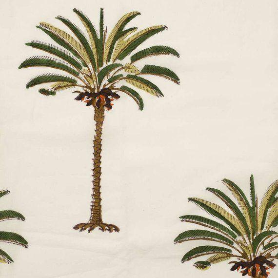 Cotton Fabric Design 24 Block Printed With Single Palm Tree