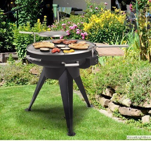 Large Charcoal BBQ Grill Stainless Steel Firepit with Swivel & Height Adjustable