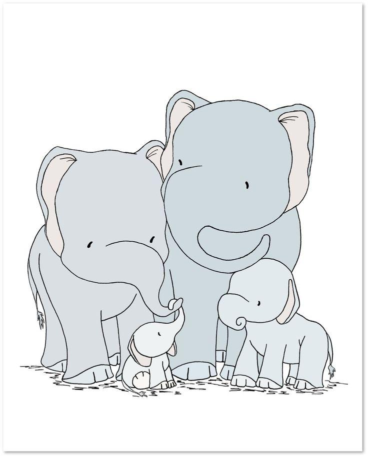 Elephant Nursery Art - Elephant Family of Four