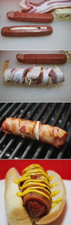Mozzarella cheese stuffed, all beef hot dogs. Wrap the hot dog with bacon and stick/hold together with toothpicks. Place on grill and ta-da! All done and they taste amazing! Backyard bbq party, cookout, picnic and camping ideas.