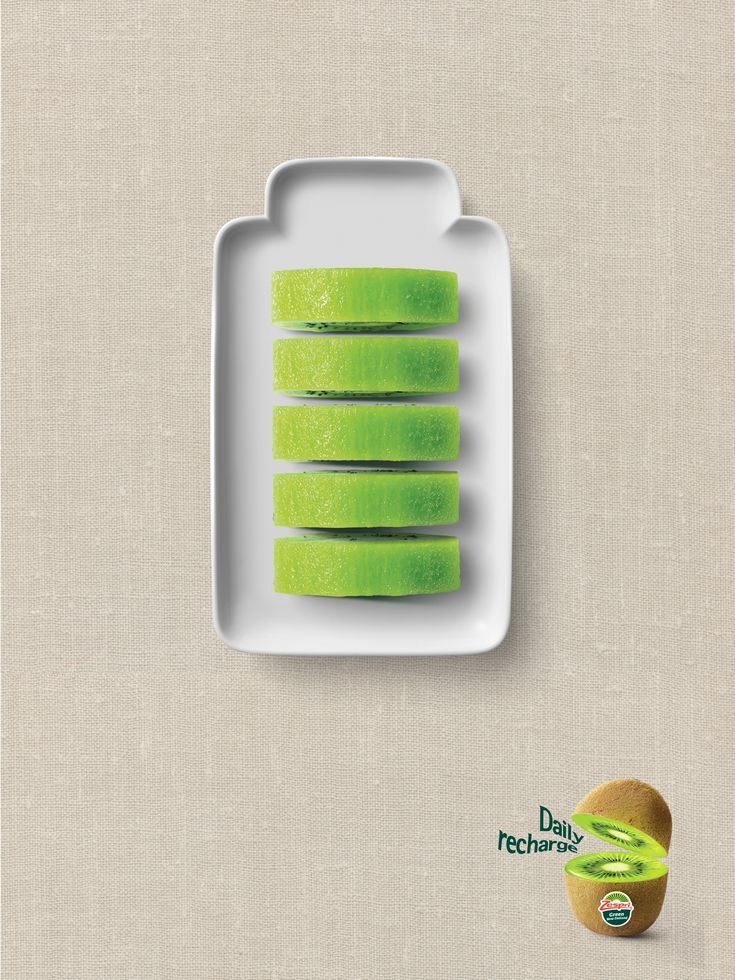 Daily Recharge  Zespri wanted to communicate that kiwifruit can be a healthy alternative to coffee, and other energy drinks. We created a simple and powerful visual to express the health benefits of kiwifruit.  Advertising Agency: DDB Korea, Seoul, South Korea Creative Director: Myung-ki Kim Art Directors: Young-Chan Kwon, Jaelim Jeon Copywriters: Myung-ki Kim, Yura Park Photographer: Hee-Hyun Ryu