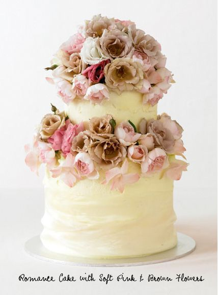 Romance cake with soft pink and brown flowers by Simmone Logue Fine Food Company