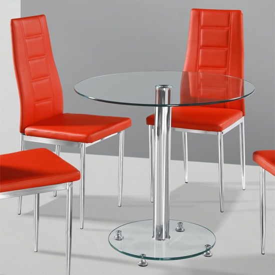 Kristof Round Clear Glass Dining Table And 2 Red Nova Chairs