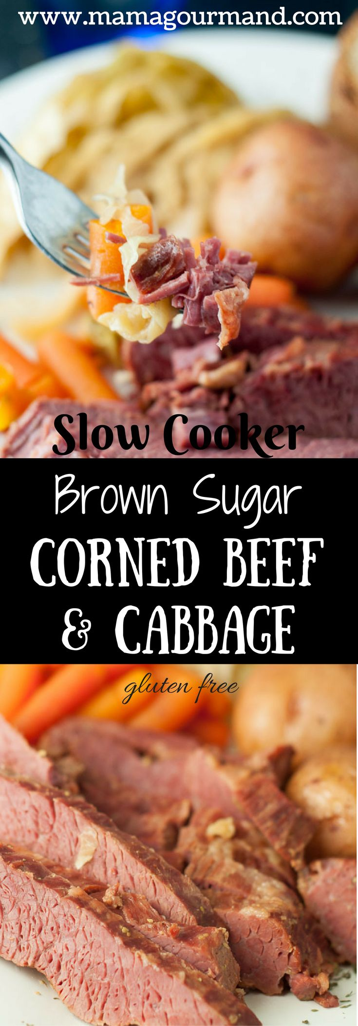 This Slow Cooker Apple and Brown Sugar Corned Beef and Cabbage recipe will be the best version you have ever tasted! Double the recipe because it's that good. http://www.mamgourmand.com (Cabbage Recipes)