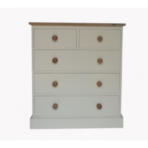 Portchester Pine Painted with Oak Tops 5 Drawer Chest (2 over 3)