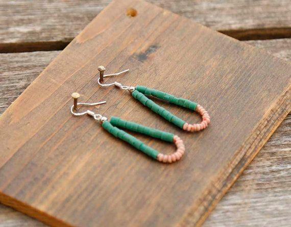 Turquoise Beaded Earrings Stone Bead Earrings by theprophetsbazaar