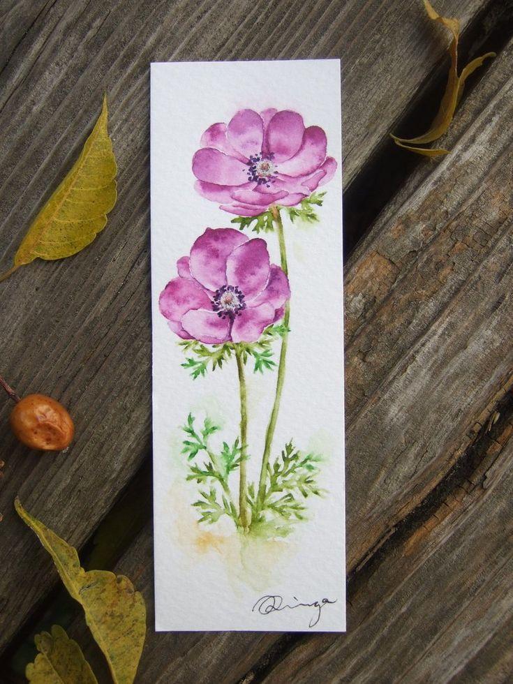 Violet red anemone – hand-painted watercolor bookmark (original work)
