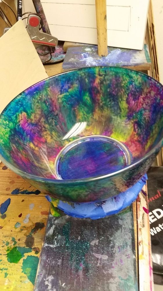 She bought a plain glass bowl at Goodwill and look what she did on her countertop!