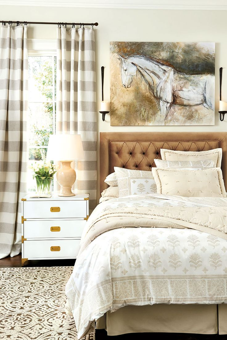 Horizontal stripe curtains - Horizontal Striped Curtain Panels Are The Perfect Finishing Touch In A Neutral Bedroom