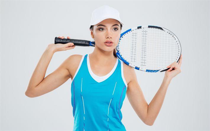 Herunterladen hintergrundbild tennis, konzepte, mädchen tennis-spieler, tennis-schläger