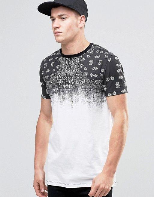 ASOS | ASOS Longline T-Shirt With Faded Bandana Print Yoke