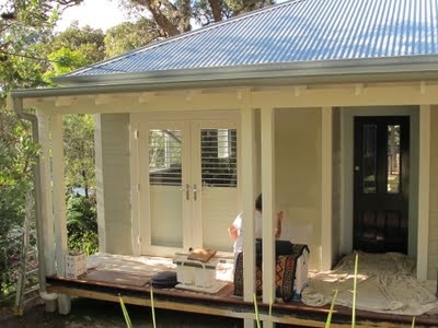 Dulux Oyster Linen for the weatherboards and Aspen Snow for the trims