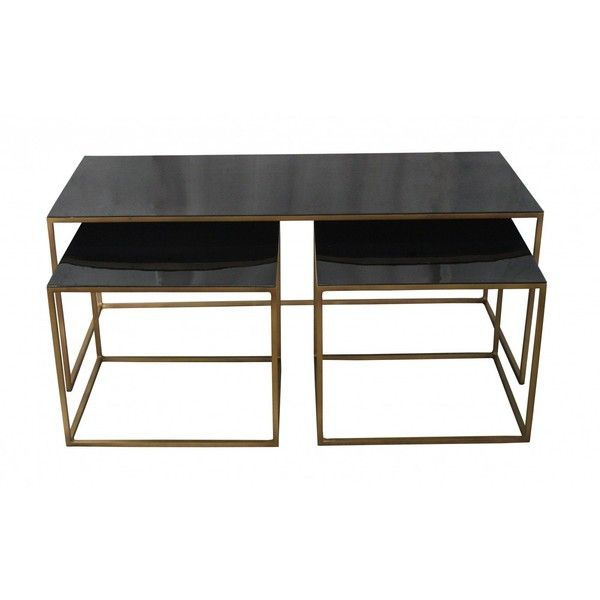 The Trio Coffee Table Set/3 ($805) ❤ liked on Polyvore featuring home, furniture, tables, accent tables, black accent table, black coffee table, black coffee table sets, black furniture and expandable table
