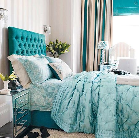 Turquoise accent & fabric headboard #bedroom