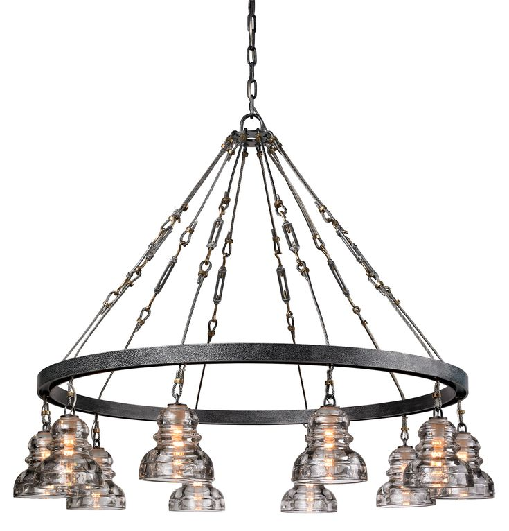 rustic industrial lighting. this chandelier from troy lighting brings industrial chic to your space with its handworked rustic n