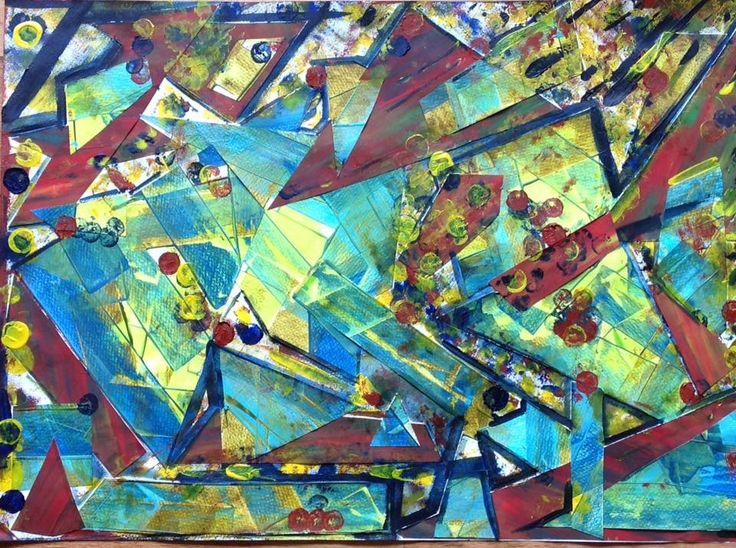 Collage Acrílico s/tela en bastidor  50 x 70 cm.