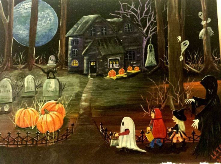 Original Halloween Folk art painting ghoul haunted house pumpkin moon ghost kids #FolkArt